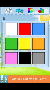 Downloaded a learn colors app for my kid was surprised by the in app ad at the bottom