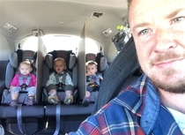 Driving was so peaceful Dad of triplets has genius fix for backseat battles