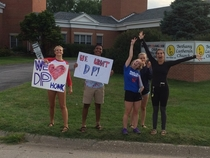 Drove by these kids protesting the school district firing a principal Dr P They didnt think those signs through