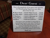 Due to the popularity of our guest room amenities
