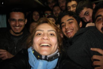 Ellens selfie is beaten by Turkish protesters selfie Taken under arrest In a Police van