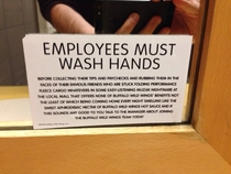 Employees must wash hands at Buffalo Wild Wings