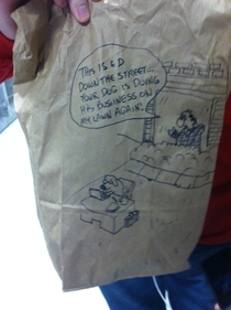 Everyday this kid has a new hand-drawn comic on his lunch bag This is my favorite