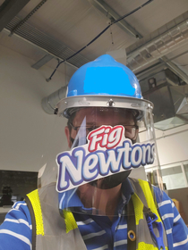 Face shields are now required on my job site This sticker is dangerous and inconvenient but I do love Fig Newtons