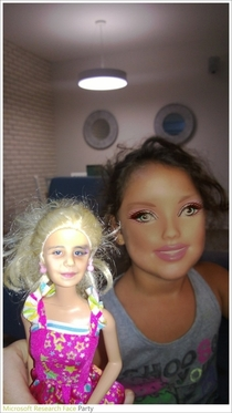 Face swap a girl and her Barbie