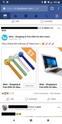 Facebook suggested Ads now selling methcrack pipes