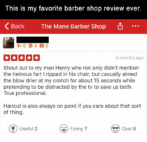 Favourite barber shop review ever