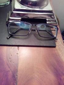 Felt like I was being watched Realised it was the reflection of the lamp in my specs