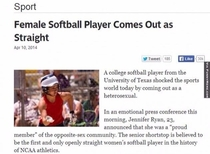 Female softball player comes out as straight