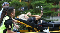 Festival attendee takes selfie as she is wheeled to ambulance - a masterpiece