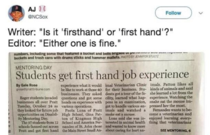 First hand job experiences