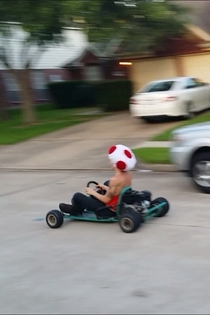 Fixed my go kart and found my old toad hat soon thereafter today was a good day