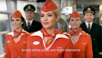 Flight attendants in the Russian airline company Aeroflot are so beautiful that they had to point it out in their ad