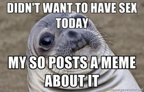 For all these awkward sealscumbag relationship memes I wonder how many SOs are at home thinking this