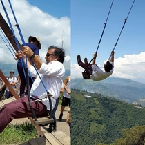 For his th birthday my dad traveled to Ecuador to ride the Swing at the End of the World I need to get on his level