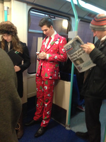 Forget your Xmas Jumper check this guy on the tube this morning