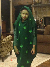 Forgot my little sister went as a pickle for Halloween a few years ago funniest shit Ive ever seen