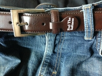 Forgot to take the tag off of my new belt Explains why that barista kept laughing
