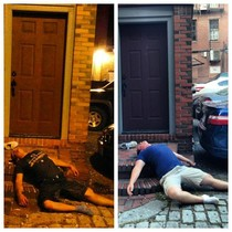 Found a drunk guy passed out last night Went to check on him today he wasnt there but I decided to do a reenactment