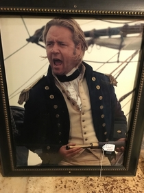 Found a framed picture of screaming Russell Crowe in an Amish antique store
