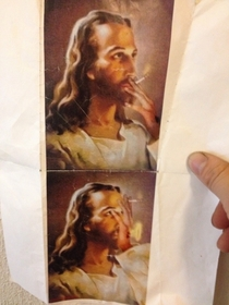 Found a pic of smoking Jesus in my laundry room