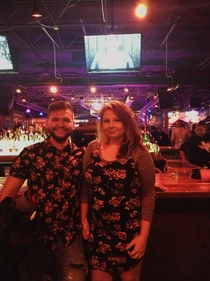 Found a woman at this bar and we had the same shirt patterns What are the odds