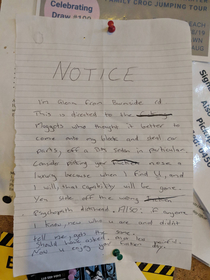 Found the most Australian written notice up in a NT truck-stop