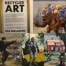 Found this guy in a random art show I walked in when traveling around Sweden He buys old art that was going to get thrown away and ads some humor to it and pop culture references