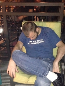 Found this guy passed out on a bar patio