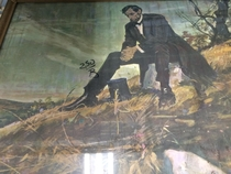 Found this painting at a thrift of Abe Lincoln about to drop the hottest mix tape of
