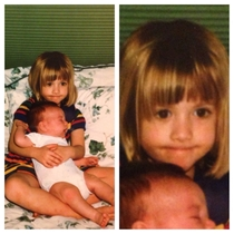 Found this picture of my sister and I She was probably about two weeks old in this picture Right about the time I realized that we were keeping her and I was no longer an only child