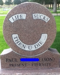 Found this tombstone at a cemetery in Salt Lake City UT