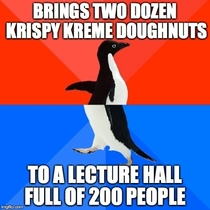 Freshman brought doughnuts to class this morning as a way to introduce himself Many did not walk away pleased