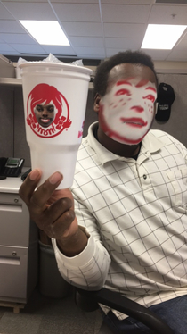 Friend faceswapped with a Wendys cup Results better than expected