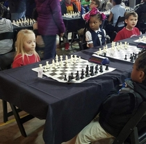 Friend of mines daughter was in a chess competition Safe to say she brought her game face