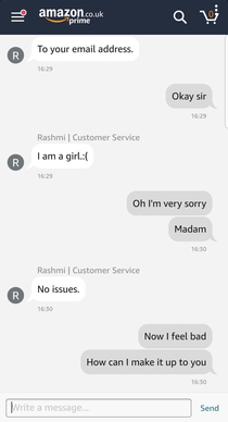Friend was refunding an item when an Amazon customer service goes off script