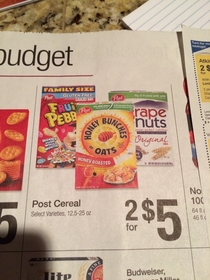 From now on maybe Grape Nuts should only be displayed in front