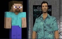 Fun fact Minecraft Steve is a low poly placeholder model of Tommy Vercetti from when Notch was thinking of making Minecraft a GTA fan game