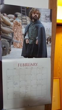 Game of thrones calendar thought it would be a good idea to put the shortest man on the shortest month