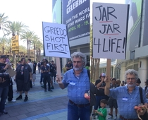 George Lucas dropped in on religious picketers outside of Star Wars Celebration to preach his own views