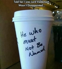 Getting a coffee as Voldemort