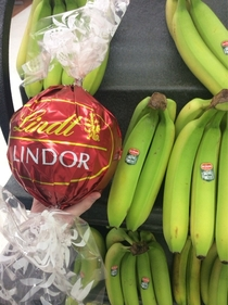 Giant Lindt Chocolate banana for scale