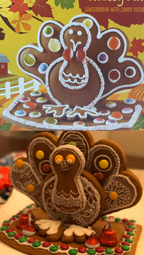 Gingerbread Turkey on the box Vs the one my girlfriend made