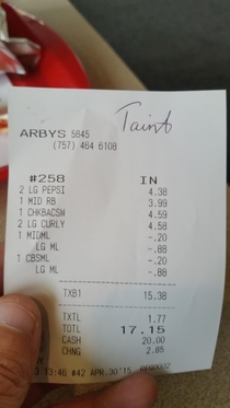 Girl asked my name at Arbys Its Tate