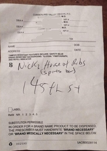Girlfriends doctor wanted to write down his favorite rib shack for her to visit since shes going to Ocean City Maryland this weekendAll he had to write on was his prescription pad so he wrote her a prescription for ribs