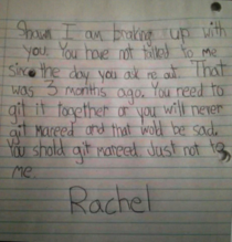 Git it together Shaun Little girls break-up letter