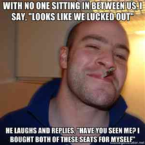 Good guy obese airplane passenger