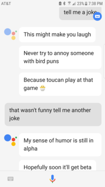Google assistant actually made me laugh