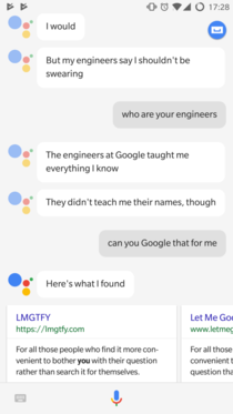 Google Assistant being a cunt
