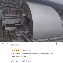 Google review of the Chernobyl sarcophagus